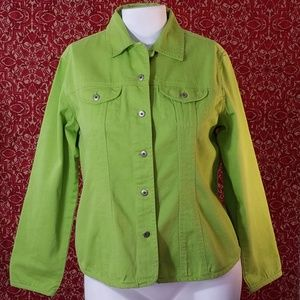 CHICO's green denim jacket 2